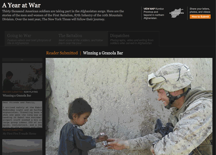 Screen capture: A Year at War